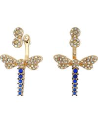 Betsey Johnson | Spring Ahead Dragonfly Front/back Earrings | Lyst