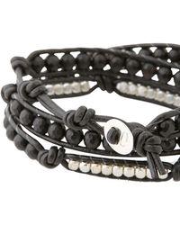Colana - Leather Wrap Bracelet With Onyx - Lyst