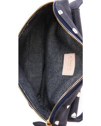 Clare V. - Nubuck Fanny Pack Navy with Pale Pink Mini Spots - Lyst