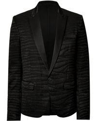 Balmain Metallic Detailed Tuxedo Jacket - Lyst