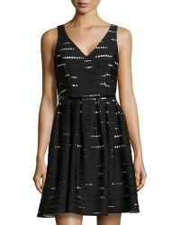 Donna Morgan Wavy Eyelet Knit Dress - Lyst