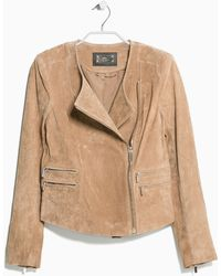 Mango Peccary Leather Jacket - Lyst