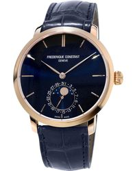 Frederique Constant - Gents Slimline Manufacture Rose Gold Moonphase Watch - Lyst