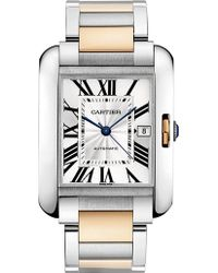 Cartier Tank Anglaise 18Ct Pink-Gold And Stainless Steel Extra-Large Watch - For Men silver - Lyst