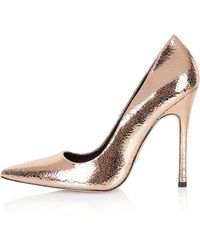 Topshop Gallop Metallic Court Shoes - Lyst