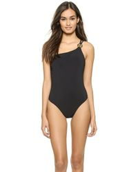 Tory Burch Logo One Shoulder One Piece Swimsuit - Black - Lyst