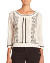 Alice + Olivia Janelle Embroidered Cotton Blouse black - Lyst