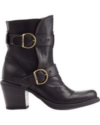 Fiorentini + Baker Stacked Heel Leather Buckle Boots black - Lyst