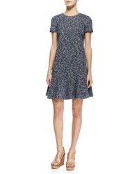 Tory Burch Margarite Short-Sleeve Flounce Dress - Lyst