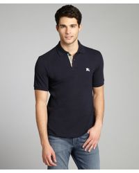 Burberry Brit Dark Navy Piqué Nova Check Detail Polo - Lyst