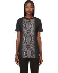 Christopher Kane Black Snakeskin Graphic T_shirt - Lyst