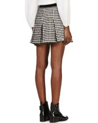 Proenza Schouler Black and White Velvet_flocked Hybrid Skirt - Lyst