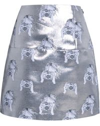 Tanya Taylor Anna Metallic Camera Jacquard Mini Skirt - Lyst