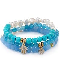 Sequin | Beaded Aqua Hamsa Bracelets, Set Of 3 | Lyst