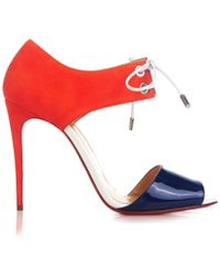 Christian Louboutin Mayerling Patent-Leather And Suede Sandals - Lyst