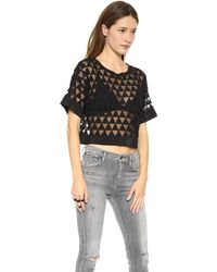 Elizabeth And James Gilroy Crop Top Black - Lyst
