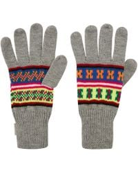 Penfield Light Grey Mera Neon Knitted Gloves