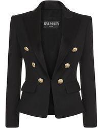 Balmain Satin Lapel Tuxedo Blazer - Lyst