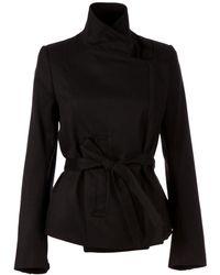 Ann Demeulemeester High Collar Belted Jacket - Lyst