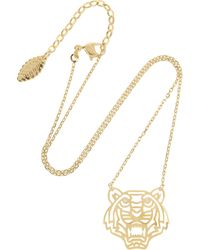 Kenzo Tiger Gold Plated Cubic Zirconia Necklace - Lyst