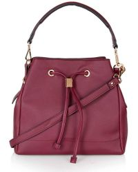 Topshop   'westly' Faux Leather Satchel - Burgundy   Lyst