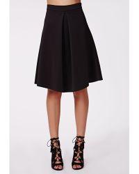 Missguided Careena Front Pleat Midi Skater Skirt Black - Lyst