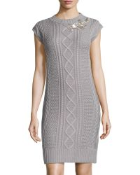 Love Moschino Beaded Cableknit Sweaterdress - Lyst