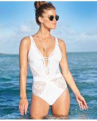Becca Crochet One-Piece Swimsuit - Lyst