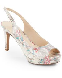 Nine West Faux Snakeskin Platform Slingback Sandals - Lyst