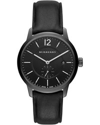 Burberry Black Ion-Plated Stainless Steel Leather Strap Watch black - Lyst