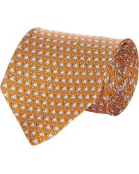 Ferragamo Orange Frog-print Tie - Lyst