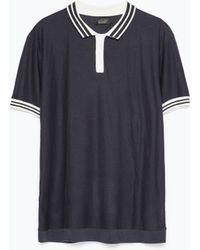 Zara Piped Collar Polo Shirt blue - Lyst