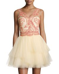 Notte by Marchesa Sleeveless Tiered Tulle Skirt Cocktail Dress - Lyst