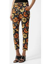 Topshop Daisy Print Cigarette Trousers orange - Lyst