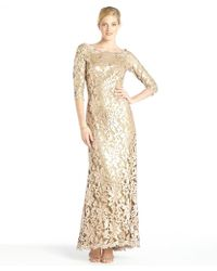 Tadashi Shoji Gold Sequined Lace Long Sleeve Gown - Lyst
