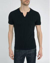 Harris Wilson Black Button Neck Cotton-Jersey T-Shirt - Lyst