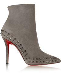 Christian Louboutin Willeta 100 Spiked Suede Ankle Boots - Lyst