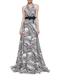 Carolina Herrera Wave Striped Halter Gown - Lyst