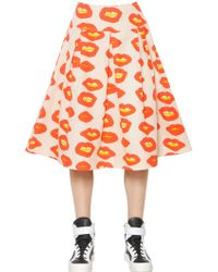 Essentiel - Lip Printed Cotton Twill Skirt - Lyst