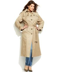 London Fog Plus Size Hooded Belted Maxi Trench Coat - Lyst