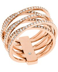Michael Kors Pave Crisscross Band Ring pink - Lyst