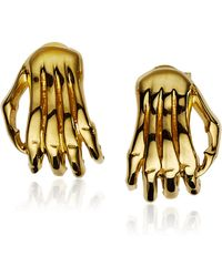 Jen Kao Gold Skelly Hand Earrings - Lyst