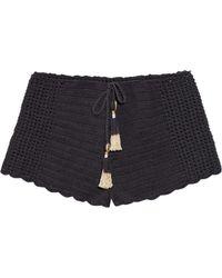 She Made Me - Essential Drawstring-waist Crochet Shorts - Lyst