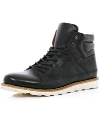 River Island Black High Top Boots - Lyst