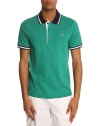 Lacoste Green Shortsleeved Polo Shirt with Contrasting Trim - Lyst