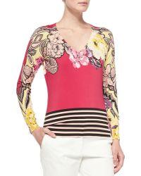 Etro Long-sleeve Floral Top W Striped Hem - Lyst