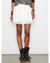 Denim & Supply Ralph Lauren Eyelet Ruched Miniskirt - Lyst