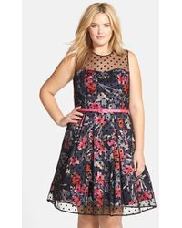 Eliza J Floral Fit & Flare Dress With Dot Mesh Overlay - Lyst