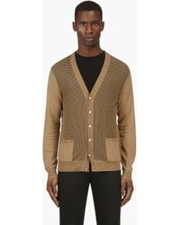 Versus  Khaki Sheer Crochet Cotton Y-front Cardigan - Lyst