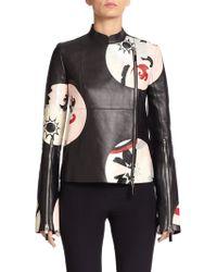 Alexander McQueen Circle-Print Leather Jacket black - Lyst